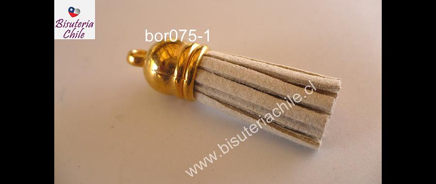 Borla crudo base dorado 40 mm de ancho, por unidad