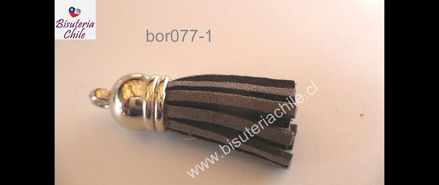 Borla gris base plateado 40 mm de ancho, por unidad