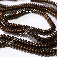 Hematite rondell color cobre, no imantada de 5 x 1,5 mm, tira de 200 piedras aprox.