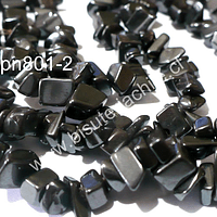 Hematite chip, tamaño de la piedra pequeño, tira de 85 cm aprox