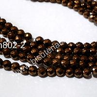 Hematite color cobre facetada, 4 mm, tira de 95 piedras aprox.