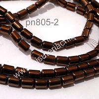 Hematite tubo no imantada color cobre, 6 x 4 mm, tira de 72 piedras aprox.