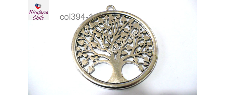 Colgante plateado en forma de árbol de la vida, 53 mm de diámetro, por unidad