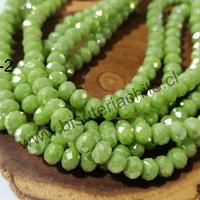 Cristal verde claro tornasol 6 mm por 5 mm, tira de 95 unidades