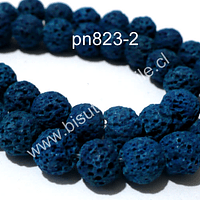 Volcánica azul, 8 mm, tira de 48 piedras aprox