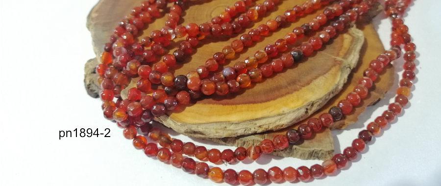 agata de 4 mm, en tonos naranjo oscuro, 89 piedras aprox