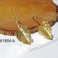 Aros baño de oro en forma de hoja (aro terminado), 40 x 16 mm, por par.