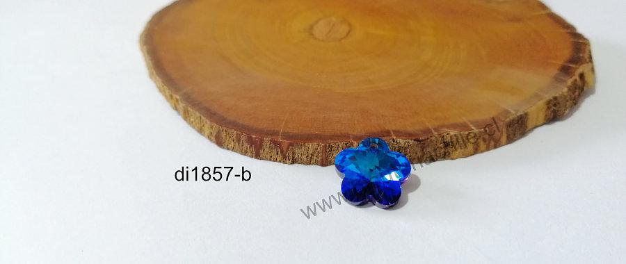 Cristal excelente calidad, flor azul tornasol, con orificio superior 14 mm por unidad