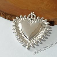 Colgante corazón detente, baño de plata, 45 x 34 mm, por unidad