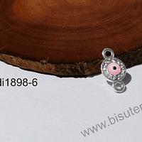 Dije doble conexión strass con ojo turco, 13 x 7 mm, por unidad