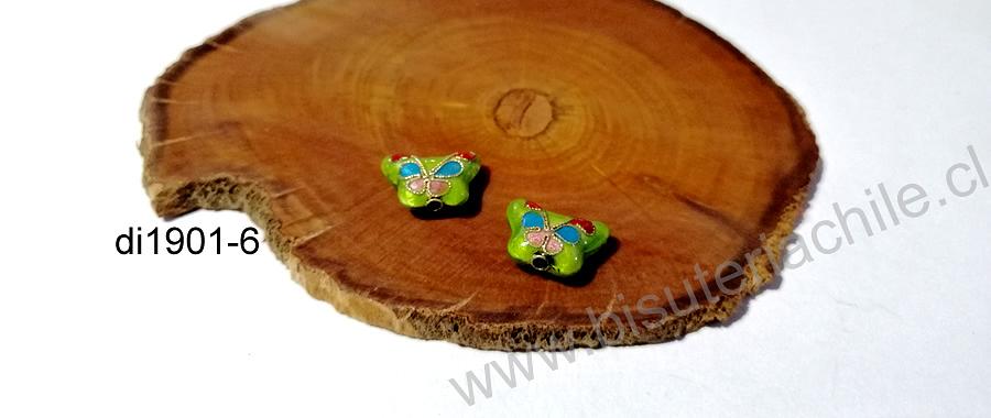 Perla española en forma de mariposa verde, 15 x 10 mm, por par