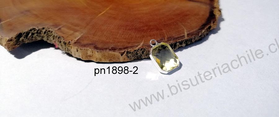 Colgante cristal facetado color amarillo claro con borde baño de plata, 12 x 8 mm, por unidad
