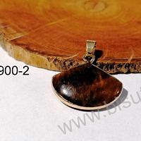 Dije de piedra ojo de tigre base dorado, 22 x 20 mm, por unidad