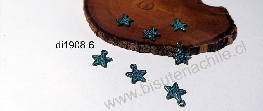 Dije estrella envejecido con color turquesa, 11 mm, set de 7 unidades