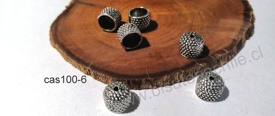 Casqute plateado, 11 x 8 mm, agujero de 8 mm, set de 6 unidades