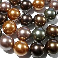 Perla Shell 8 mm, en colores verdes, rosados y cafe cobrizo, tira de 48 perlas aprox
