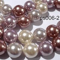 Perla Shell 6 mm, en tonos rosados, tira de 64 perlas aprox