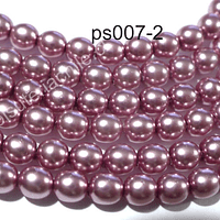 Perla Checha color rosado de 4 mm, muy buena calidad, tira de 120 perlas aprox