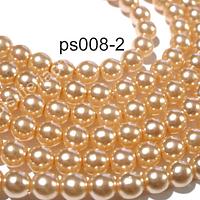 Perla Checa color crema de 4 mm, muy buena calidad, tira de 120 perlas aprox