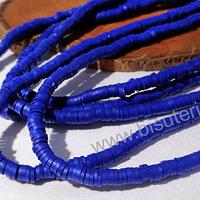 Tira de cuentas de goma, azul, 4 mm de diámetro, tira de 42 cm de largo aprox