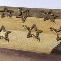 Dije envejecido en forma de estrella, 24 x 17 mm, set de 7 unidades