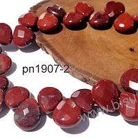 jaspe rojo en forma de gota facetada, 12 mm de largo x 10 mm de ancho, tira de 14 piedras