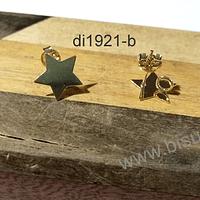 Base de aro baño de oro, en forma de estrella, 12 mm, por par