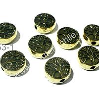 Separador dorado con árbol de la vida, 9 mm de diámetro, 4 mm de ancho, agujero de 2 mm de ancho, set de 8 unidades