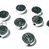 Separador plateado con árbol de la vida, 9 mm de diámetro, 4 mm de ancho, agujero de 2 mm de ancho, set de 8 unidades