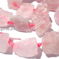 cuarzo rosado nuget, piedras entre 23 y 17 mm, tira de 8 piedras