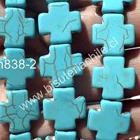 Turquesa en forma de cruz, 15 x 15 mm, tira de 13 unidades