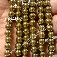 Hematite dorada 6 mm, tira de 68 piedras aprox.