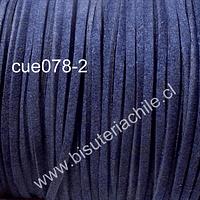 Gamuza color azul oscuro de 3 mm de ancho y 2 mm de espesor, por metro