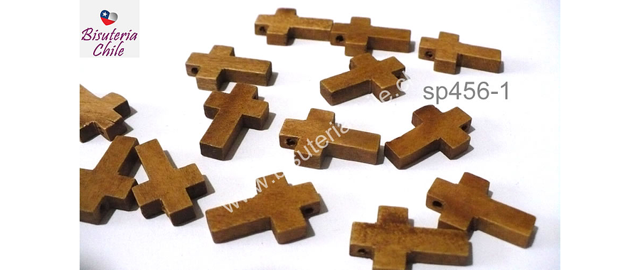 Cruz de madera, 22 x 15 mm, 5 mm de ancho, set de 14 unidades