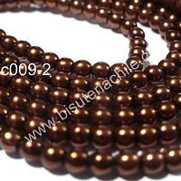 Perla Checha color café cobrizo de 3 mm, muy buena calidad, tira de 145 perlas aprox