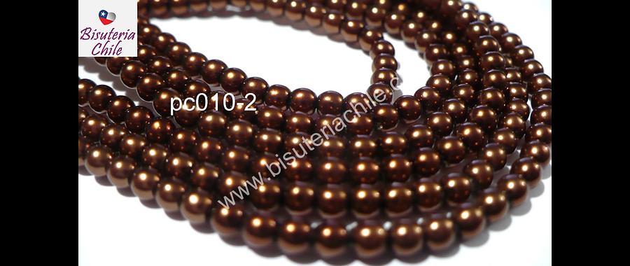 Perla Checa color café cobrizo de 4 mm, muy buena calidad, tira de 120 perlas aprox