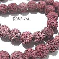 Piedra volcanica color rosado, de 8 mm, tira de 48 a 50 piedras aprox.