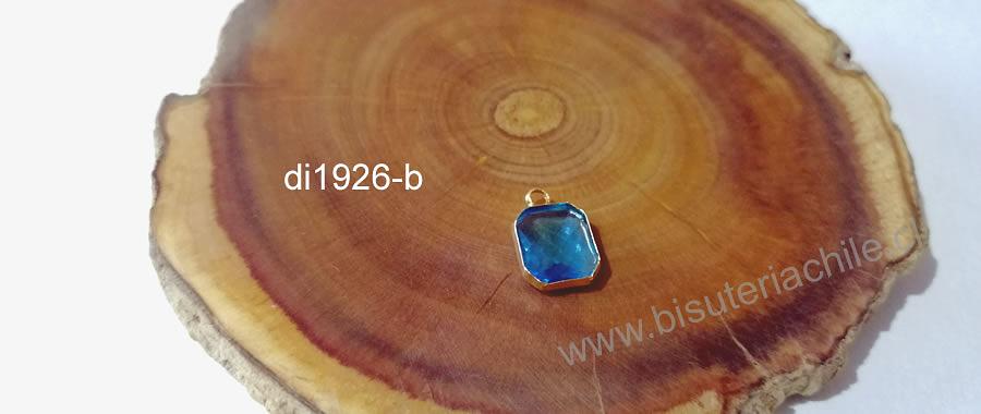 Colgante de cristal facetado color celeste, con borde baño de oro, 13 x 9 mm, 2 mm, de ancho por unidad