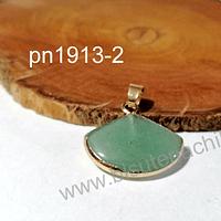 Dije de piedra jade base dorado, 22 x 20 mm, por unidad