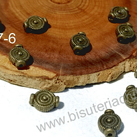Separador envejecido, 10 mm de largo por 8 mm de ancho, agujero de 1 mm , set de 10 unidades