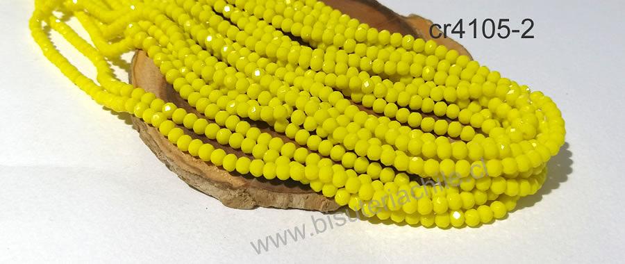 Cristal facetado color amarillo 4 mm, tira de 140 cristales aprox