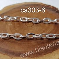 Cadenas, cadena plateada, eslabón 8 x 6 mm, por metro
