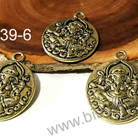 Dije Ganesha dorada, 28 x 20 mm, set de 3 unidades