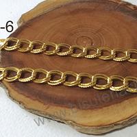 Cadenas, cadena dorada plana doble, eslabón de 10 mm de largo por 9 mm de ancho, por metro