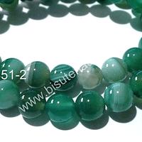 Agata lisa en color verde, de 8 mm, tira de 47 piedras aprox.