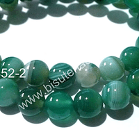 Agata lisa en tonos verdes, 6 mm, tira de 63 piedras aprox.