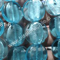 Perla de vidrio hindú, color celets 20 mm de diámetro, tira de 15 unidades