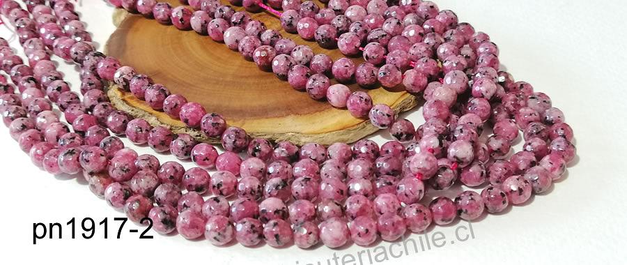 agata facetada, rosa jaspeada en 6 mm, tira de 60 piedras aprox