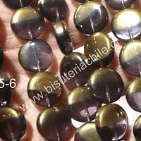 Vidrio y cobre, en color lila, 15 mm de diámetro, tira de 20 unidades aprox