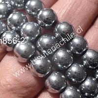 Hematite plateada 8 mm, tira de 53 piedras aprox.